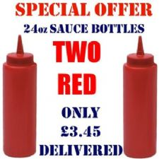 TWO Red 24oz Squeezy Plastic Sauce Bottles for Trailers, BBQs, Cafes etc. from �0.75 each inc vat.